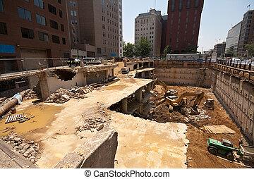 de par en par, sobre, ángulo, washington, house., sitio, céntrico, 2, cc, bloques, construcción, demolición, blanco, tiro
