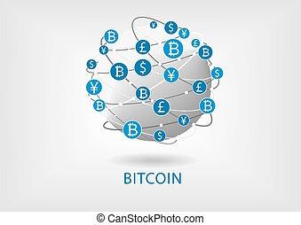 de par en par, tela, dinero, blockchain, bitcoin, ...