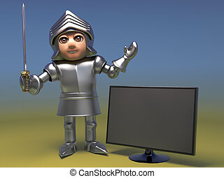 de par en par, televisión, medieval, caballero, pantalla, ...