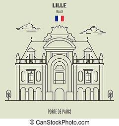 de, paris, lille, icône, repère, porte, france.