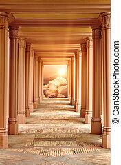 de, passageway, om te, hemel