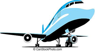 de passagier van het vliegtuig