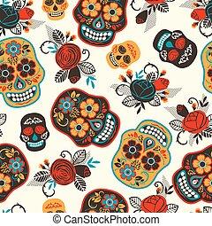 de, pattern., seamless, muertos., los, dead., jour, dia