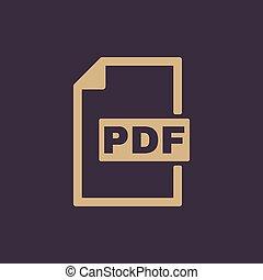 de, pdf, icon., bestand, formaat, symbool., plat