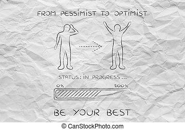 de, pessimista, para, optimist:, homem, mudança, atitude, barra progresso