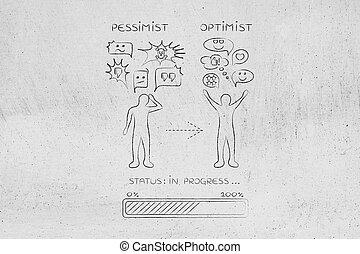 de, pessimista, para, optimist:, homem, mudança, reação