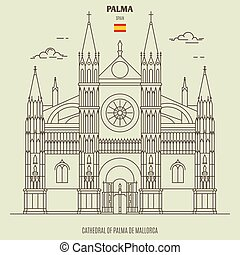 de, pictogram, spain., palma kathedraal, mallorca, ...