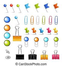 de pictogrammen van het bureau, items, levering, vrijstaand, klemmen, spelden, briefpapier