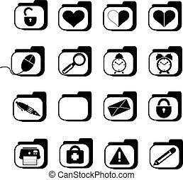 de pictogrammen van het bureau