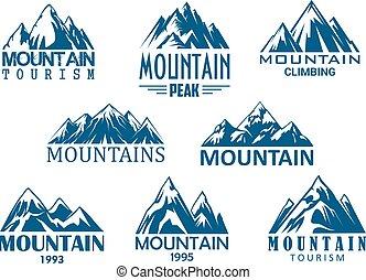 de piek van de berg, pictogram, voor, buitene avontuur, ontwerp