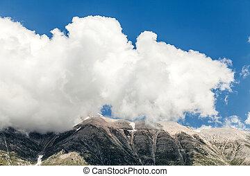 de piek van de berg, wolk