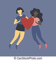 de piel oscura, juntos, asimiento, heart., niña, asiático