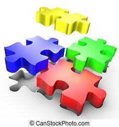 de, plaatsing, van, gekleurde, stukken, van, raadsel