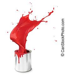 de plons van de verf, rood