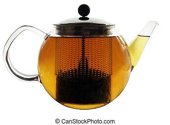 de pot van de thee, munt