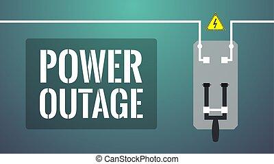 de, potencia, concept., outage, girado, interruptor, ...