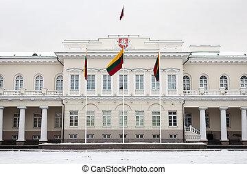 de, presidentiële palace, in, vilnius