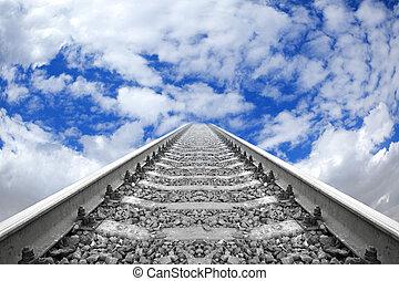 de, rails, verwaarlozing, in, de, blauwe hemel, met, wolken