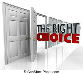de, rechts, keuze, open deur, nieuw, gelegenheid, kiezen,...