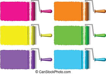 de rollen van de verf, kleurrijke