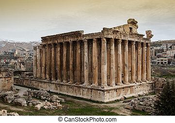 de, roman temple, van, bacchus, in, baalbek, libanon