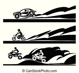 de-route, motorcycle., voiture courir