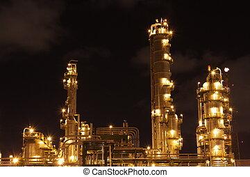 de scène van de nacht, van, chemisch, industriebedrijven