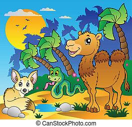 de scène van de woestijn, met, gevarieerd, dieren, 1