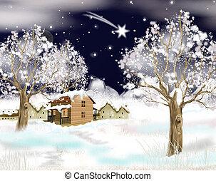 de scène van kerstmis