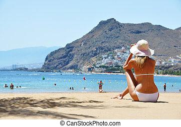 de, scene., canaris, plage, playa, la, teresitas., tenerife