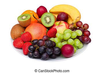 de schotel van het fruit, vrijstaand, op, white.
