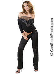 de, sexy, jonge, beauty, vrouw, in, een, black , suit., vrijstaand, 3