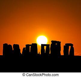 de, silhouette, van, stonehenge, in, uk