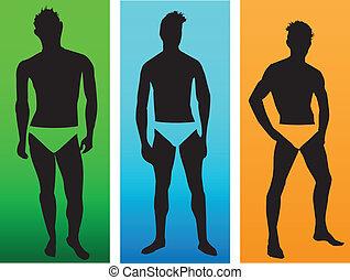 de, silhouettes, van, mannen, modellen