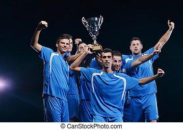 de spelers van het voetbal, vieren, overwinning