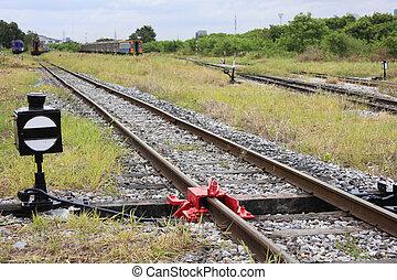 de sporen van de spoorweg, of, spoorweg