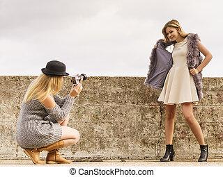 de spruit van de foto, van, mode modelleert