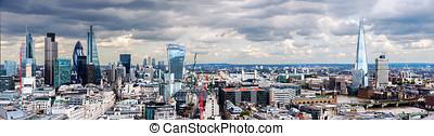 de stad, van, londen, panorama