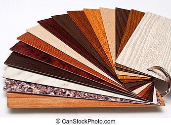 de steekproeven van de kleur, voor, venster, profiel, versiering, zoals, een, hout