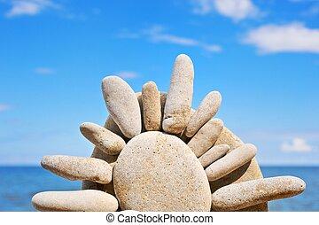 de, steen, zon