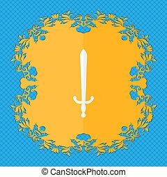 de, sword., floral, plat, ontwerp, op, een, blauwe , abstract, achtergrond, met, plek, voor, jouw, text.