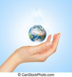 de, symbool, van, sparen, planeet