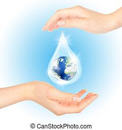 de, symbool, van, sparen, planet.