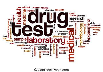de test van de drug, woord, wolk