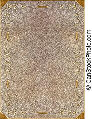 de, textuur, van, de, huid, met, goud lettering
