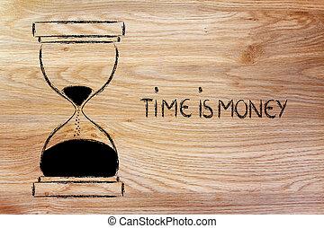 de tijd is geld, hourglass, ontwerp