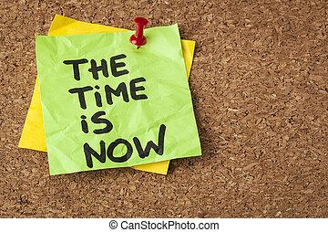 de, tijd, is, nu