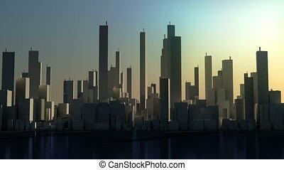 de tijdspanne van de tijd, -, panorama, stad, concept