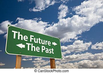 de toekomst, het verleden, groene, wegaanduiding, op, wolken