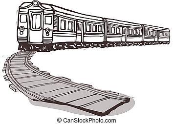 de, trein, is, het trekken